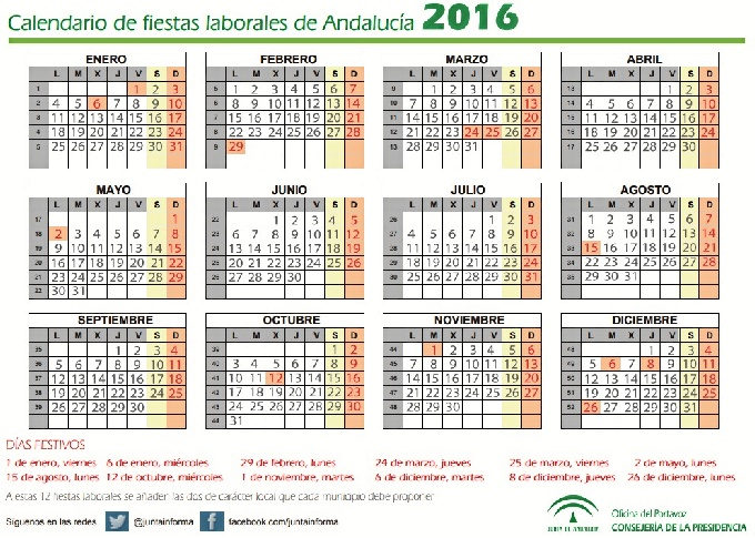 Aprobado el calendario de fiestas laborales en andaluc a for Calendario eventos madrid